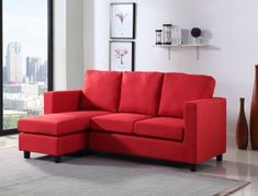 Newport Red Small Condo Apartment Sized Sectional Sofa with Reversible Chaise . Couches for sale! Order the best cheap Linen couch online for your living room. Red Leather Couches, Leather Sectional Sofas, Fabric Sectional, Small Sectional With Chaise, Large Sofa, Condo Furniture, Living Room Furniture, Living Room Red, Living Spaces