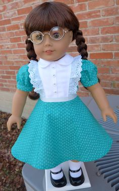 """18"""" Doll Clothes 1940's Style Teal Dress--Fits American Girl Molly, Emily, Kit, Ruthie"""