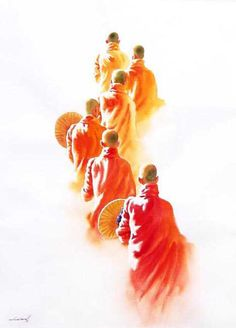 Monks on the morning Round (1) by Min Wae Aung - watercolor