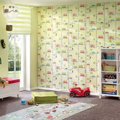 'Beep Beep' Buses, Cars & Road Motif Children's wallpaper in Blue, Red & Green