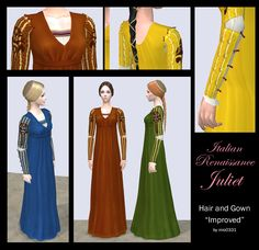 Italian Renaissance Hair and Gown for female by Renaissance Hairstyles, Renaissance Fashion, Italian Renaissance, Sims 2, Italian Style, Simple Style, Gowns, Female, Formal Dresses
