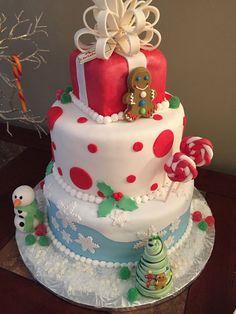 Christmas themed tiered cake!