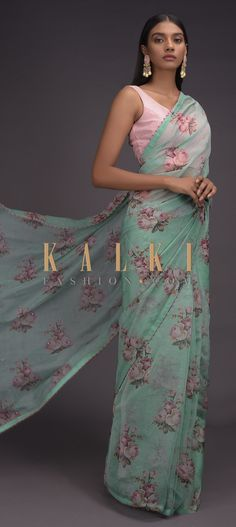 Buy Online from the link below. We ship worldwide (Free Shipping over US$100)  Click Anywhere to Tag Seafoam-Green-Saree-In-Organza-With-Printed-Floral-Motifs-In-Repeat-Pattern-Online-Kalki-Fashion Indian Bridal Lehenga, Green Saree, Wedding Sarees, Party Wear Sarees, Printed Sarees, Designer Sarees, Floral Motif, Animal Drawings, Silk Sarees