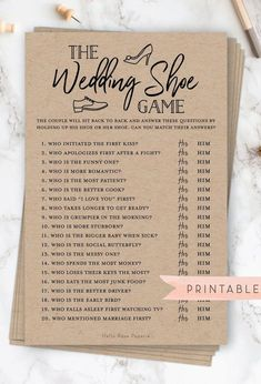 The Wedding Shoe Game Virtual Printable Bridal Wedding Couples Shower Engagement Party Printable Wedding Couples, Wedding Bride, Dream Wedding, Wedding Day, Wedding Rings, Couples Wedding Shower Games, Perfect Wedding, Couples Shower Decorations, Boho Wedding