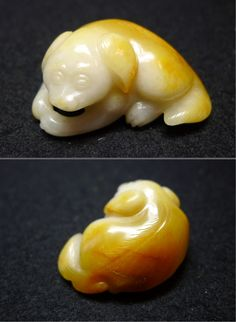 Jade dog carved from a Hetian jade pebble. 18th c Qing dynasty. Private collection