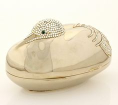 """Judith Leiber Cigar Box in Rhine: Antique. This Crystal minaudiere was originally created in 1990 by Judith Leiber and is part of a series of the square cigar boxes as prominently displayed in the book """"The Artful handbag"""" by Enid Nemy on Page Gold Handbags, Vintage Handbags, Purses And Handbags, Cheap Purses, Cute Purses, Crane Bird, Luxury Purses, Judith Leiber, Leather Clutch Bags"""