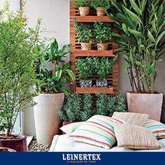 Já pensou em fazer um jardim vertical na sua casa? É prático e lindo! No fundo você pode usar a Textura Gelo da Leinertex, pois realça ainda mais o verde vivo das plantas! #Leinertex #ACorPerfeita