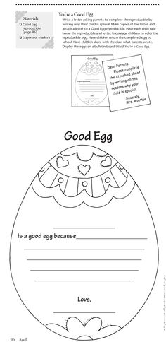 Free Easter activity from www.creativeteaching.com This comes from the book Making Memories Month by Month CTP 2399. :)