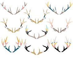 Painted Antler Clipart, Antlers Clipart, Deer Clipart, Stag Clipart Clip Art, Tribal Clipart, Christmas Clipart, Navajo Clipart, Clipart