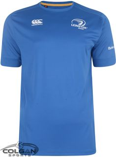 Official Leinster Rugby Merchandise Made by Canterbury. This Leinster training tee shirt is made from 100% polyester which wicks the moisture away from the body. The Leinster are Canterbury logos are printed on the front and Leinster is printed on the back of the right shoulder. Now available at Colgan Sports! Leinster Rugby, Rugby Training, Canterbury, Tee Shirts, Tees, Activewear, Printed, Shoulder, Logos