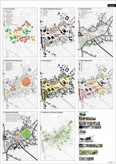 Series of smaller maps to show analysis like - ethnicities, building heights, types of spaces that exist, public/private Site Analysis Architecture, Architecture Concept Diagram, Architecture Mapping, Architecture Presentation Board, Architecture Graphics, Presentation Design, Landscape Architecture, Architecture Design, Architecture Diagrams