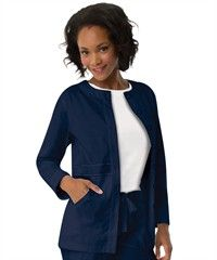 "Koi 406 Olivia Scrub Jacket is a round neck, button front jacket featuring two deep front pockets, left pocket with a cell phone pocket and D ring for keys. Approx. length is 28"". 55/45 cotton/poly fabric."