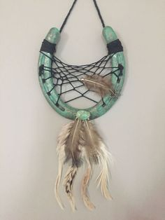 Turquoise horseshoe dreamcatcher by ShesCrafty711 on Etsy