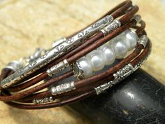 Multi-strand leather with pearls & silver #handmade #jewelry #bracelet