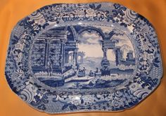 STAFFORDSHIRE ANCIENT ROME PATTERN BLUE & WHITE PEARLWARE PLATTER gC1820 generally made by Carey, but this example could by another. This went for in excess of 300 dollars showing that Transferware is gaining in value.