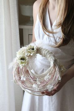 Modern wedding bridal bouquet fabric, paper flower, pearls, feathers and wire purse,