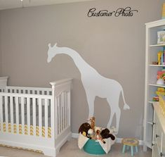 Giraffe Wall Decal - Children's Bedroom Large Peeking Giraffe - Jungle Safari - Vinyl Wall Art - CA105