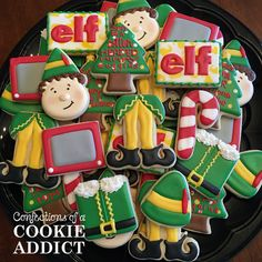 Confections of a Cookie Addict specializes in custom cookies for any occasion. Speciatly cookies handmade in Durham, NC Cookie Cake Decorations, Cookie Decorating, Holiday Decorating, Decorating Tips, Cookie Designs, Cookie Ideas, Elf Movie, Baking Business, Christmas Sugar Cookies