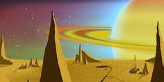 Titan & Saturn - Galactic Echoes Intro Challenging Puzzles, Painting, Painting Art, Paintings, Painted Canvas, Drawings