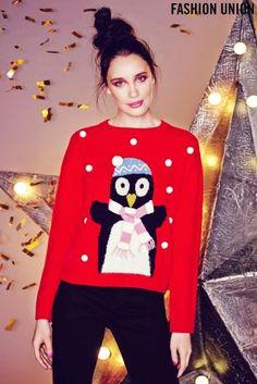 Buy Fashion Union Bonnie Penguin X-Mas Jumper from the Next UK online shop