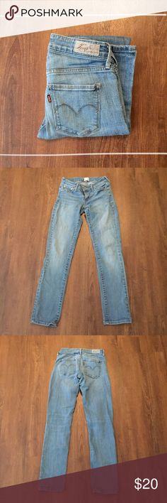 """Levi's Straight Leg Demi Curse Straight Leg Jean 99% cotton 1% Elastane 12.5"""" waist laying flat, 28"""" inseam 7"""" front rise, 11"""" back rise   Need any other information? Measurements? Materials? Feel free to ask! Don't be shy, I always welcome reasonable offers! Fast shipping! Same or next day! Sorry, no trades!  Happy Poshing!☺️ Levi's Jeans Straight Leg"""
