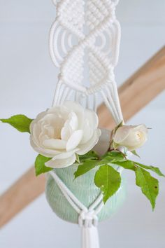 Handmade macrame plant hanger crafted with care using 4mm white nylon cord. All materials used are made in New Zealand.  Add some greenery and life