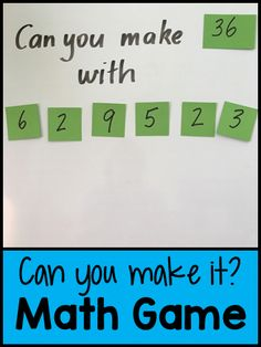 Can You Make It? Math Game - great game for differentiating. Can You Make It? Math Game - great game for differentiating. Fourth Grade Math, Second Grade Math, 4th Grade Math Games, Mental Maths Games, Maths Games Ks2, Maths Games For Kids, Maths Riddles, Year 5 Maths, Mental Math Strategies