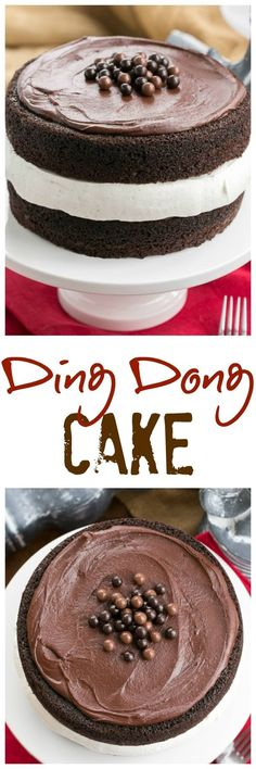 Ding Dong Cake | 2 thick moist chocolate cake layers filled with vanilla cream and topped with caramel infused ganache