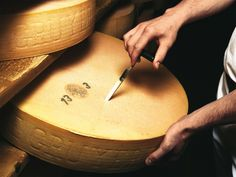 Switzerland's famous Gruyere cheese from Gruyere in the Fribourg region