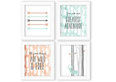 Woodland Nursery Set, Set of Four Prints, Deer Silhouette, Mint and Coral, Coral and Mint, All Good Things Are Wild and Free, You Are Our Greatest Adventure, Feathers and Arrows, Birch bark Trees