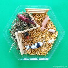 Bring back life to forgotten toys with this Corn and Straw Sensory Bin // open-ended play