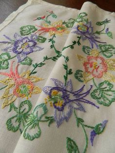 Vintage UNUSED hand embroidered linen table topper - Fuchsia