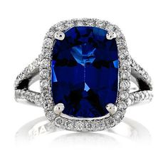 14kt White Gold Halo 12x9 Ceylon Blue Sapphire Cushion Cut 7.00ct FSI1... ($1,190) ❤ liked on Polyvore featuring jewelry, rings, cocktail rings, diamond wedding rings, 14k diamond ring, white gold rings and diamond engagement rings