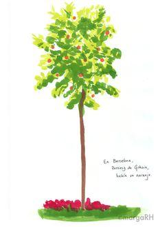 Naranjo / naranja árbol postal 5x7in por MagrojaPrints en Etsy