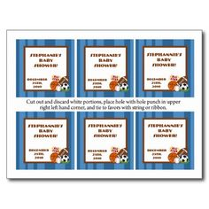 Shop 6 Favor Tags All-Star Blue Invitation Postcard created by AnnLeeDesigns. Soccer Birthday Parties, Sports Birthday, Baseball Birthday, Baby Shower Supplies, Baby Shower Themes, Soccer Inspiration, Football Themes, Favor Tags, Postcard Size