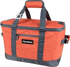 CleverMade SnapBasket 50 Can, Soft-Sided Collapsible Cooler: 30 Liter Insulated Tote Bag, Heathered Orange/Charcoal. For product info go to:  https://all4hiking.com/products/clevermade-snapbasket-50-can-soft-sided-collapsible-cooler-30-liter-insulated-tote-bag-heathered-orangecharcoal/