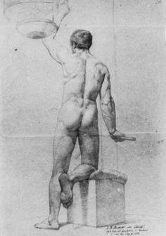 Overbeck, Johann Friedrich: Stehender männlicher Akt, Rückenfigur