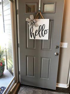 Front door sign, wood door hanger, door decoration, front do Front Door Signs, Front Door Decor, Front Porch, Front Door Colors, Front Doors, Front Door Entry, Above Door Decor, Appartement Design, Diy Décoration
