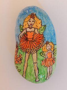Chrysanthemum and bud Fairies.  Hand painted Pebble