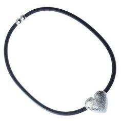 Black Cord and Matt Silver Heart Collar