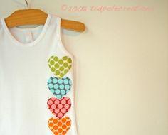 Girls 4 Years Spotty Pastel Heart Tank Singlet by tadpolecreations, $20.00