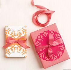 Use Martha Stewart Circle Edge Punch for gift wrap - http://celebrationsathomeblog.com/2012/11/product-review-martha-stewart-circle-edge-punch.html
