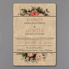 Wood and Roses Wedding Invitations on real wood! http://bustlingbride.carlsoncraft.com/Wedding/Luxe-Material-Invitations/3285-RZ38796-Wood-and-Roses--Invitation.pro