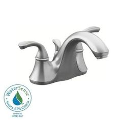 KOHLER Forte 4 in. 2-Handle Low-Arc Bathroom Faucet in Brushed Chrome with Sculpted Lever Handle-K-10270-4-G at The Home Depot