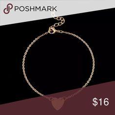 🎀BEAUTIFUL GOLD W/HEART BRACELET OR ANKLET🎀 🎀BEAUTIFUL GOLD (nickel free alloy) W/HEART BRACELET OR ANKLET🎀 Jewelry Bracelets