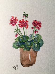 Red Geraniums Watercolor Card / Hand Painted Watercolor Card This card is painted on heavy 140* card stock. The card is an original not a print. I used watercolor and ink in creating this card. The cad is 5x7 and blank inside. Comes with a matching envelope in a protective sleeve.
