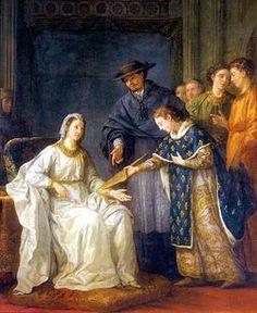 """St- Louis remet la régence à sa mère (Joseph-Marie Vien, Chapelle St-Louis de l'Ecole militaire, Paris, 18°s) -  Immédiatement après sa naissance, Louis est baptisé en la collégiale Notre-Dame de Poissy; ce lieu demeurera cher au roi, qui aimera signer ses lettres du nom de """"Louis de Poissy"""", ou encore """"Louis, seigneur de Poissy""""."""