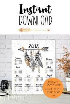 2018 Boho Calendar, Downloadable large bohemian calendar for the wall, Arrows and feathers stylish yearly calendar, Desk calendar printable. $9 #ad