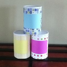 Reuse formula cans to make storage containers for my daughter's craft stuff and toys!