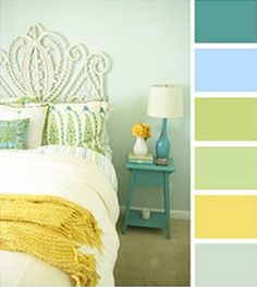yellow, green, blue-green